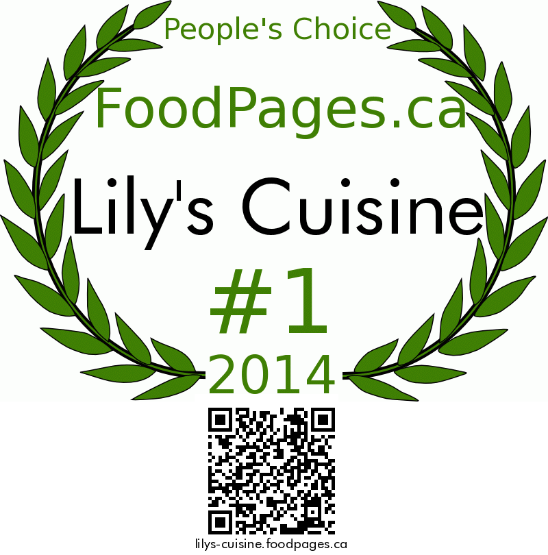 Lily's Cuisine FoodPages.ca 2014 Award Winner